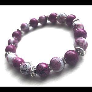 Purple and White Glass Beaded Bracelets